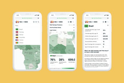 Girls Not Brides child marriage atlas design shown on mobile devices